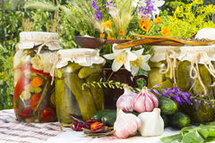 Banks with pickled vegetables - cucumbers, tomatoes, zucchini, a Stock Photo