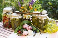 Banks with pickled vegetables - cucumbers, tomatoes, zucchini, a Stock Image