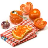 Banks with red caviar, tomato and sandwich Stock Photo