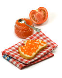 Banks with red caviar, tomato and sandwich Stock Photos