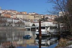 Banks of Rhone river in Lyon Stock Images