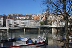 Banks of Rhone river in Lyon Royalty Free Stock Image