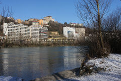 Banks of Rhone river in Lyon Stock Photos