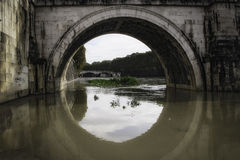 Banks of the River Flooded. Flood waters overtake Rome Tevere river (Italy Royalty Free Stock Photography