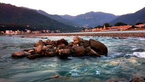 Banks of river ganga in rishikesh. On the banks of river ganga in rishikesh near ram jhula Royalty Free Stock Photography