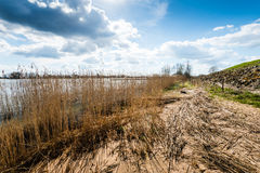 Banks of a river next to a dike Royalty Free Stock Images