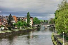 Banks of Sambre River through Namur, Belgium Royalty Free Stock Photos