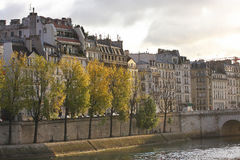 Banks of the Seine, early autumn morning.  royalty free stock images