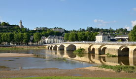 Banks of Vienne river and old bridge, Chinon, France Stock Image