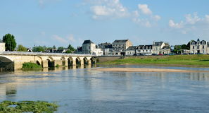 Banks of Vienne river and old bridge, Chinon, France Stock Photo