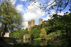 Banks of the Wear at Durham. The banks of the River Wear at Durham City, with the historic Durham Cathedral in the centre of the picture Stock Photography