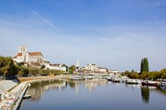 Banks of the Yonne in the town of Auxerre Royalty Free Stock Image