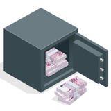 Banksafe mit Geldeurostapeln Safe offen mit Geld Isometrische Illustration des Vektors 3d Lizenzfreie Stockfotos