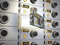 Bankschließfächer in einem Banktresor Geld und Prozentsatzsymbol in den Händen Lizenzfreie Stockfotos