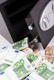 Bankschließfach, Stapel des Bargelds, Euros Lizenzfreies Stockfoto