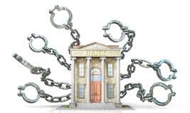 Banksklavenkonzept Bankgebäude mit Fesseln vektor abbildung