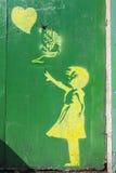 Banksy样式街道画在约克 免版税库存照片