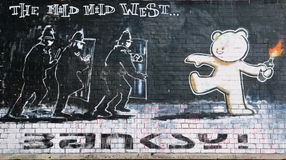banksy著名温和的部分题为西部 库存图片
