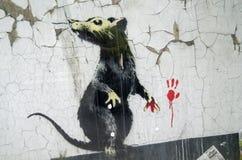 Banksy街道画鼠 免版税库存图片