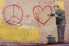 banksy graffiti s Obrazy Stock
