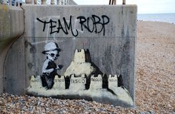 Banksy mural, St.Leonards. A new mural by cult British street artist Banksy on the seafront at St.Leonards-on-Sea in East Sussex, England on August 28, 2010 Royalty Free Stock Photo