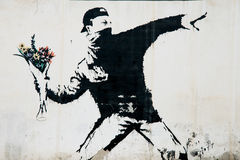 Banksy protestväggmålning i Palestina Arkivbild