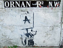Banksy, Rat op Ornan Rd. Stock Foto