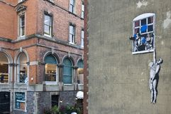 Banksy's Graffiti in Bristol. UK Stock Photography