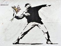Banksy-Straßen-Kunst Stockbild
