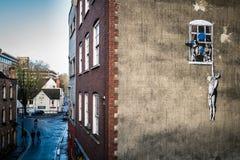 Banksy (ventana) Imágenes de archivo libres de regalías