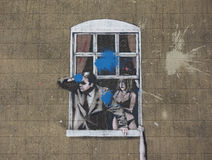 Banksy Well Hung Lover in Bristol royalty free stock image