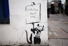 Banksys 'London arbetar inte grafitti i staden av London Royaltyfria Foton