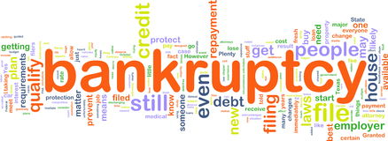 Bankuptcy wordcloud Stock Images