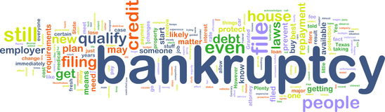 Bankuptcy wordcloud Royalty Free Stock Image