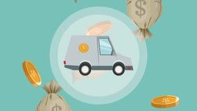 Bankvoertuig over geld dalende HD animatie stock illustratie