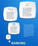 Bankwesen-blau-Hintergrund-runden-Quadrat Lizenzfreie Stockfotos