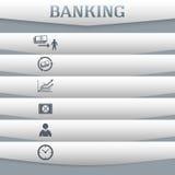 Bankwesen-Konzept-auf-grau-Hintergrund-mit-ein-Karte-Ikone Stockfotografie