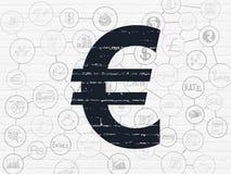 Bankwesenkonzept: Euro auf Wandhintergrund Stockbild