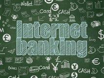 Bankwesenkonzept: Internetbanking auf Schulbehördehintergrund Stockbild