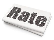 Bankwesenkonzept: Rate auf leerem Zeitungshintergrund Lizenzfreies Stockfoto
