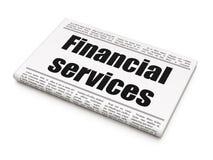 Bankwesenkonzept: Zeitungsschlagzeile Finanzdienstleistungen Lizenzfreie Stockfotos