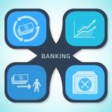 Bankwesenkonzeptart infographics Schablonen-Hintergrundflieger Lizenzfreie Stockfotografie