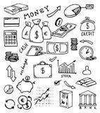 Bankwezen en munthand getrokken vectorreeks Royalty-vrije Stock Afbeelding