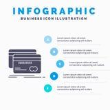Bankwezen, kaart, krediet, debet, het Malplaatje van financiëninfographics voor Website en Presentatie GLyph Grijs pictogram met  stock illustratie