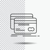 Bankwezen, kaart, krediet, debet, het Pictogram van de financiënlijn op Transparante Achtergrond Zwarte pictogram vectorillustrat stock illustratie