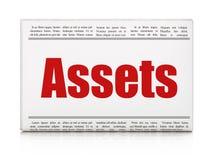 Bankwezenconcept: de Activa van de krantenkrantekop Royalty-vrije Stock Afbeeldingen