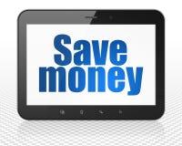 Bankwezenconcept: De Computer van tabletpc met sparen Geld op vertoning Stock Foto