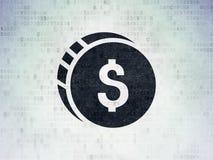 Bankwezenconcept: Dollarmuntstuk op Digitale Gegevensdocument achtergrond royalty-vrije stock afbeeldingen