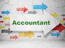 Bankwezenconcept: pijl met Accountant op de achtergrond van de grungemuur Stock Afbeeldingen