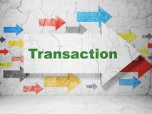 Bankwezenconcept: pijl met Transactie op de achtergrond van de grungemuur Stock Fotografie